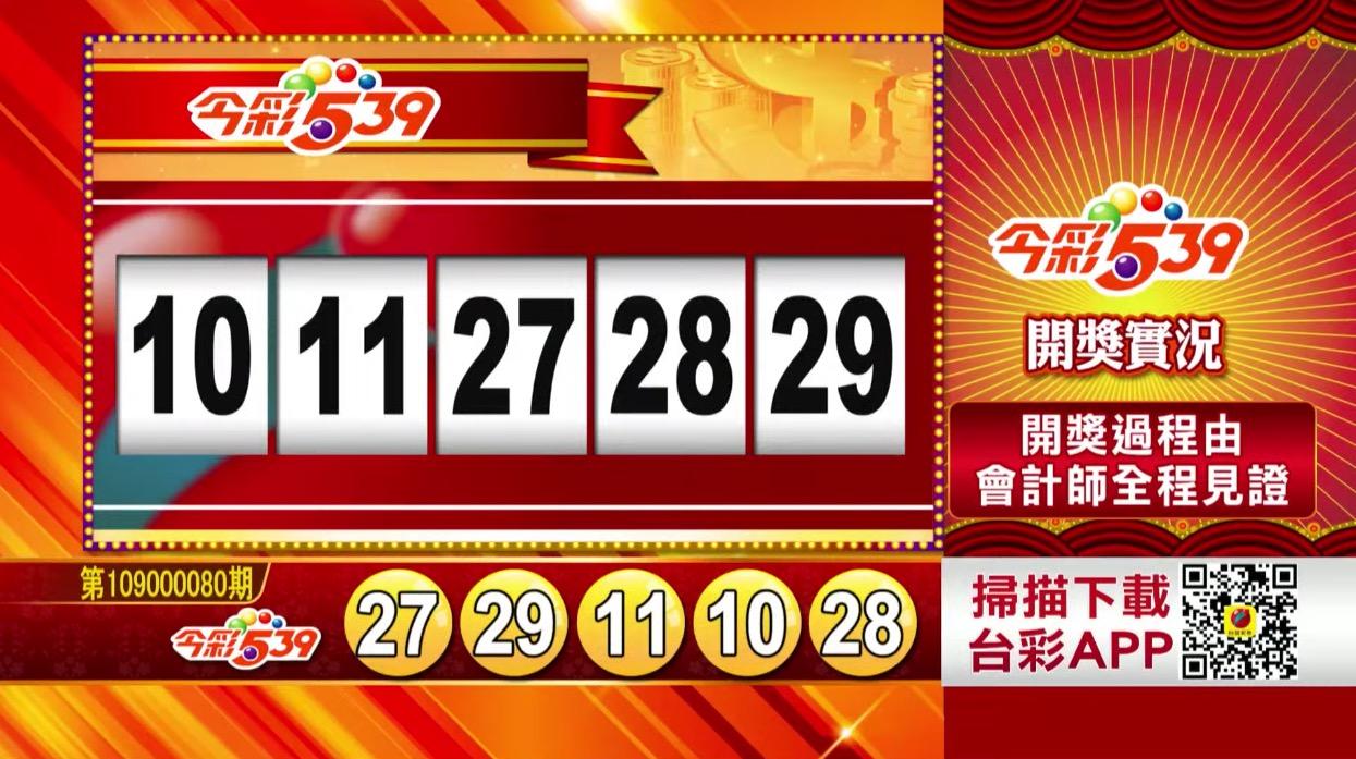 今彩539中獎號碼》第109000080期 民國109年4月2日