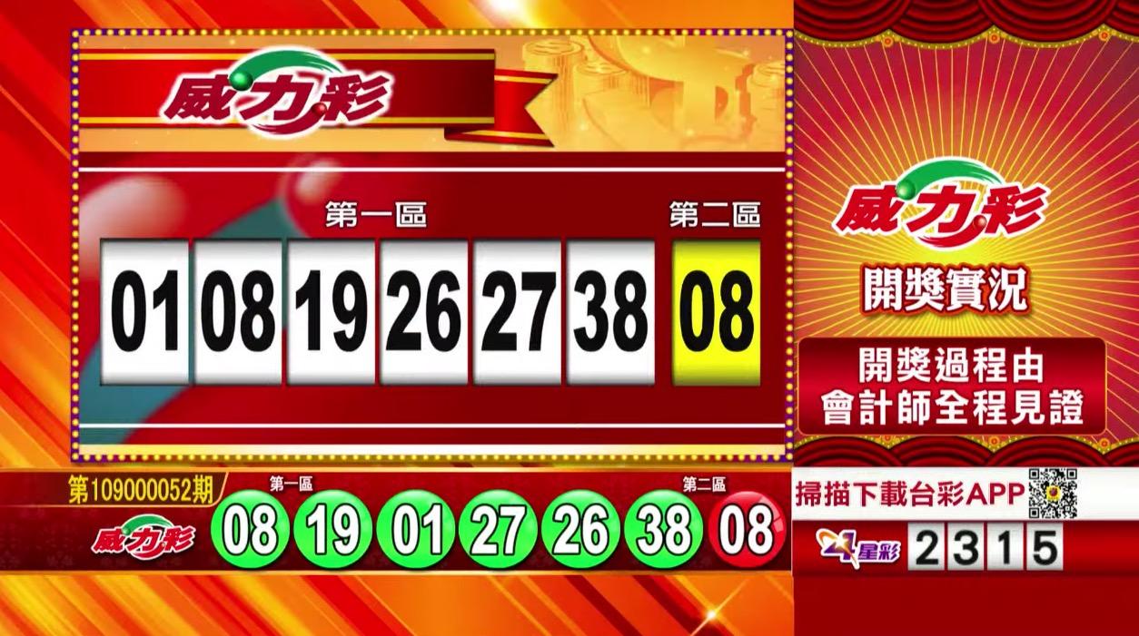 威力彩中獎號碼》第109000052期 民國109年6月29日 《#威力彩 #樂透彩開獎號碼》