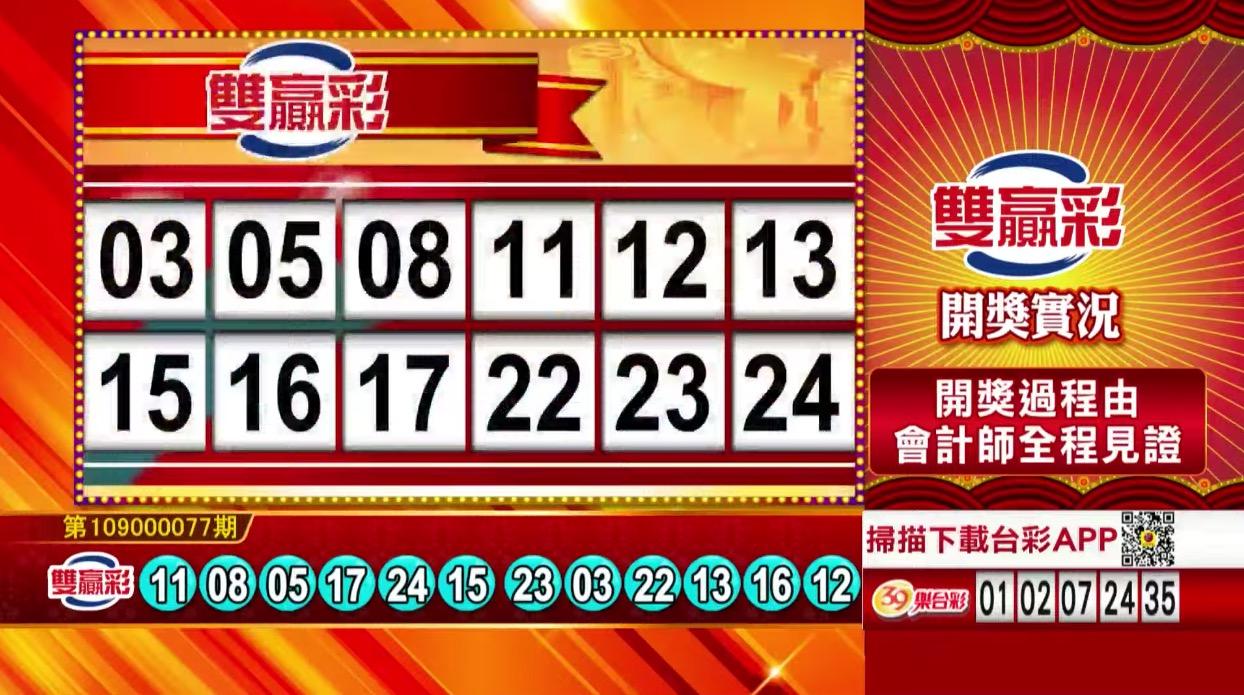 雙贏彩中獎號碼》第109000077期 民國109年3月30日
