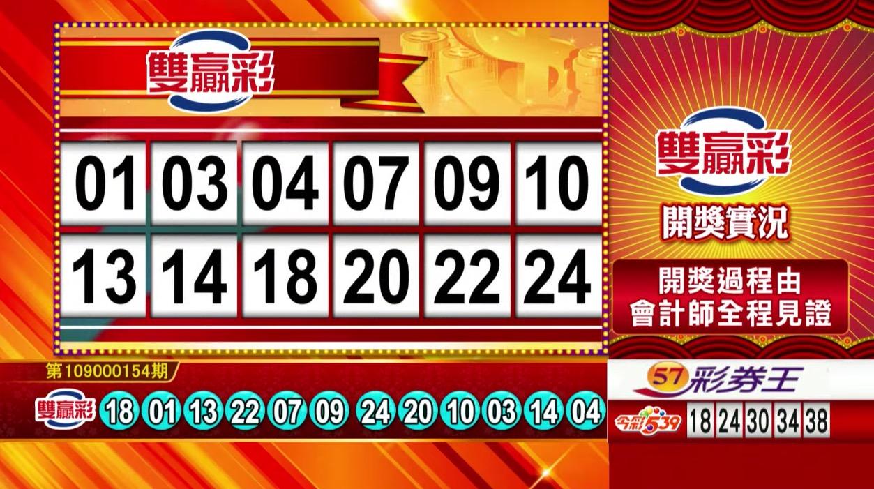 雙贏彩中獎號碼》第109000154期 民國109年6月27日 《#雙贏彩 #樂透彩開獎號碼》