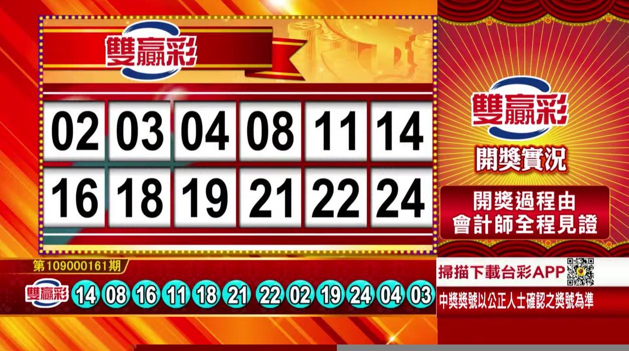 雙贏彩中獎號碼》第109000161期 民國109年7月6日 《#雙贏彩 #樂透彩開獎號碼》