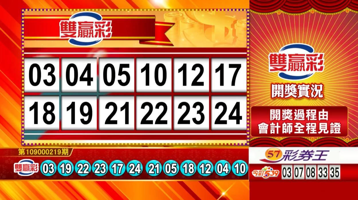 雙贏彩中獎號碼》第109000219期 民國109年9月11日 《#雙贏彩 #樂透彩開獎號碼》