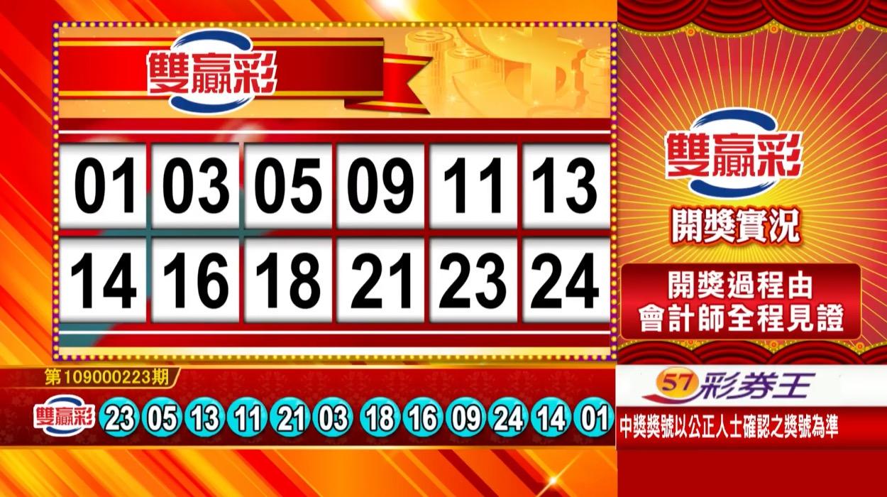 雙贏彩開獎號碼》第109000223期 民國109年9月16日 《#雙贏彩 #樂透彩中獎號碼》