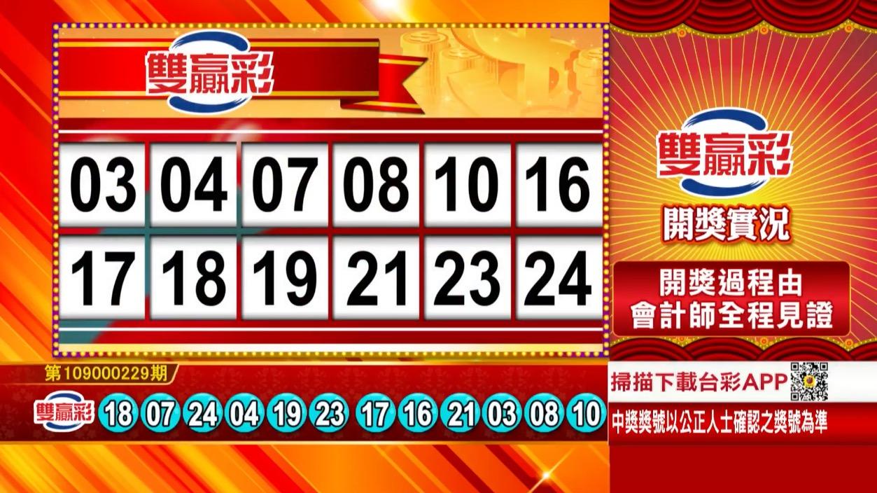 雙贏彩中獎號碼》第109000229期 民國109年9月23日 《#雙贏彩 #樂透彩開獎號碼》