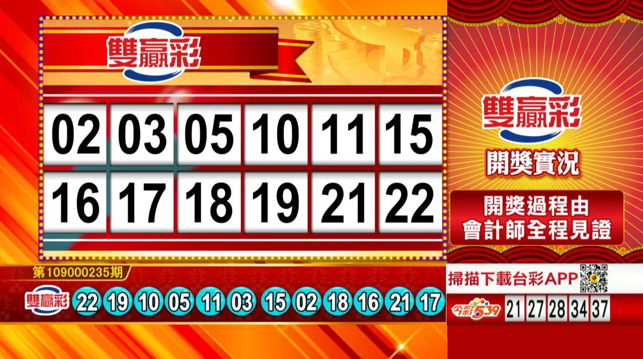 雙贏彩中獎號碼》第109000235期 民國109年9月30日 《#雙贏彩 #樂透彩開獎號碼》