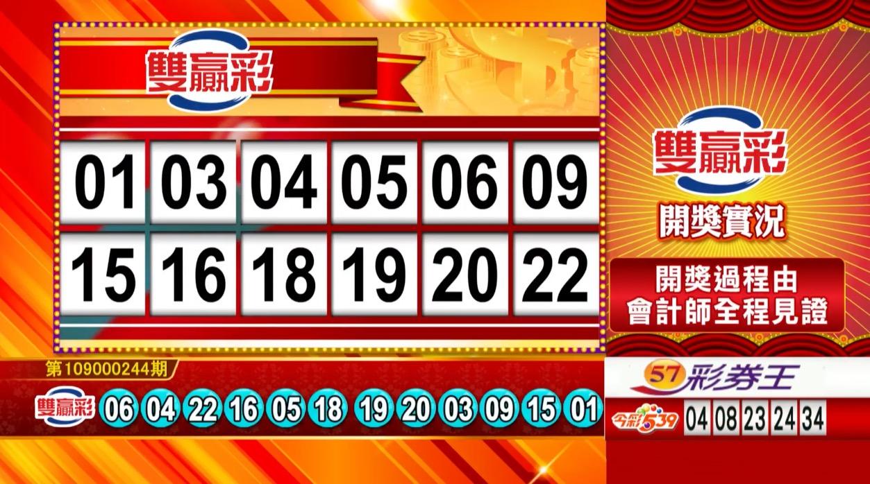 雙贏彩中獎號碼》第109000244期 民國109年10月10日 《#雙贏彩 #樂透彩開獎號碼》