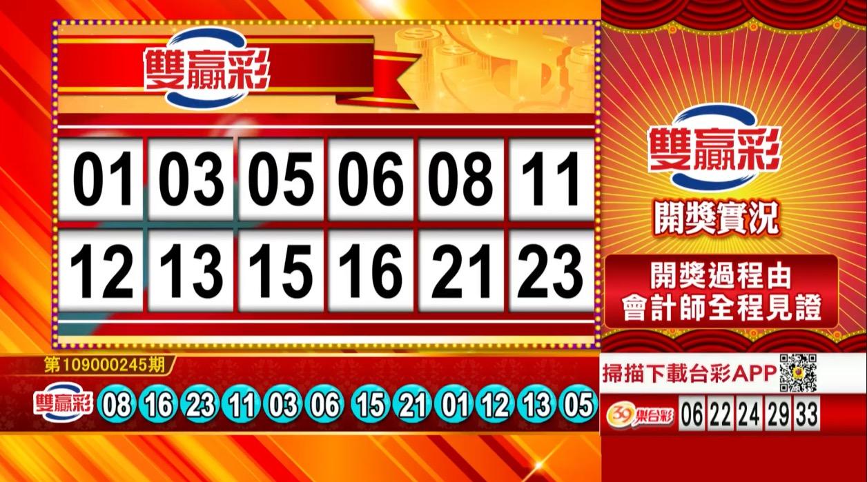 雙贏彩中獎號碼》第109000245期 民國109年10月12日 《#雙贏彩 #樂透彩開獎號碼》